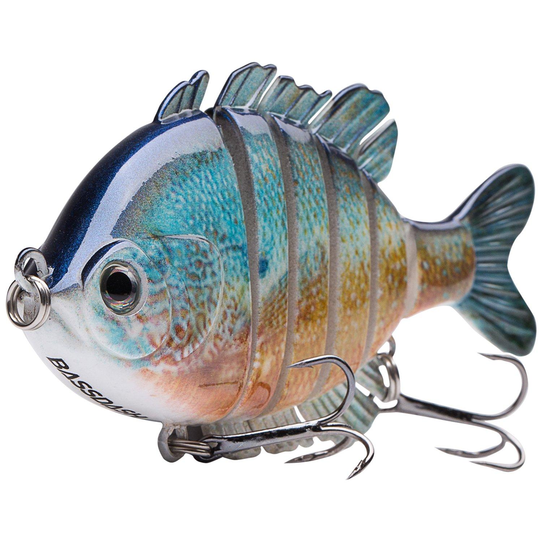 Bassdash SwimPanfish Multi Jointed Panfish Bluegill Swimbaits Topwater Hard Bass Fishing Crank Lure 3.5in/0.85oz (Redbreast Sunfish) by Bassdash