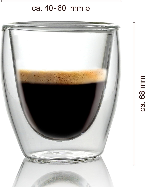Caff/é Italia Torino Tazzine Caffe Vetro Doppia Parete 4 x 60 ml Lavabile in Lavastoviglie Tazzine per Espresso Bevande Calde e Fredde