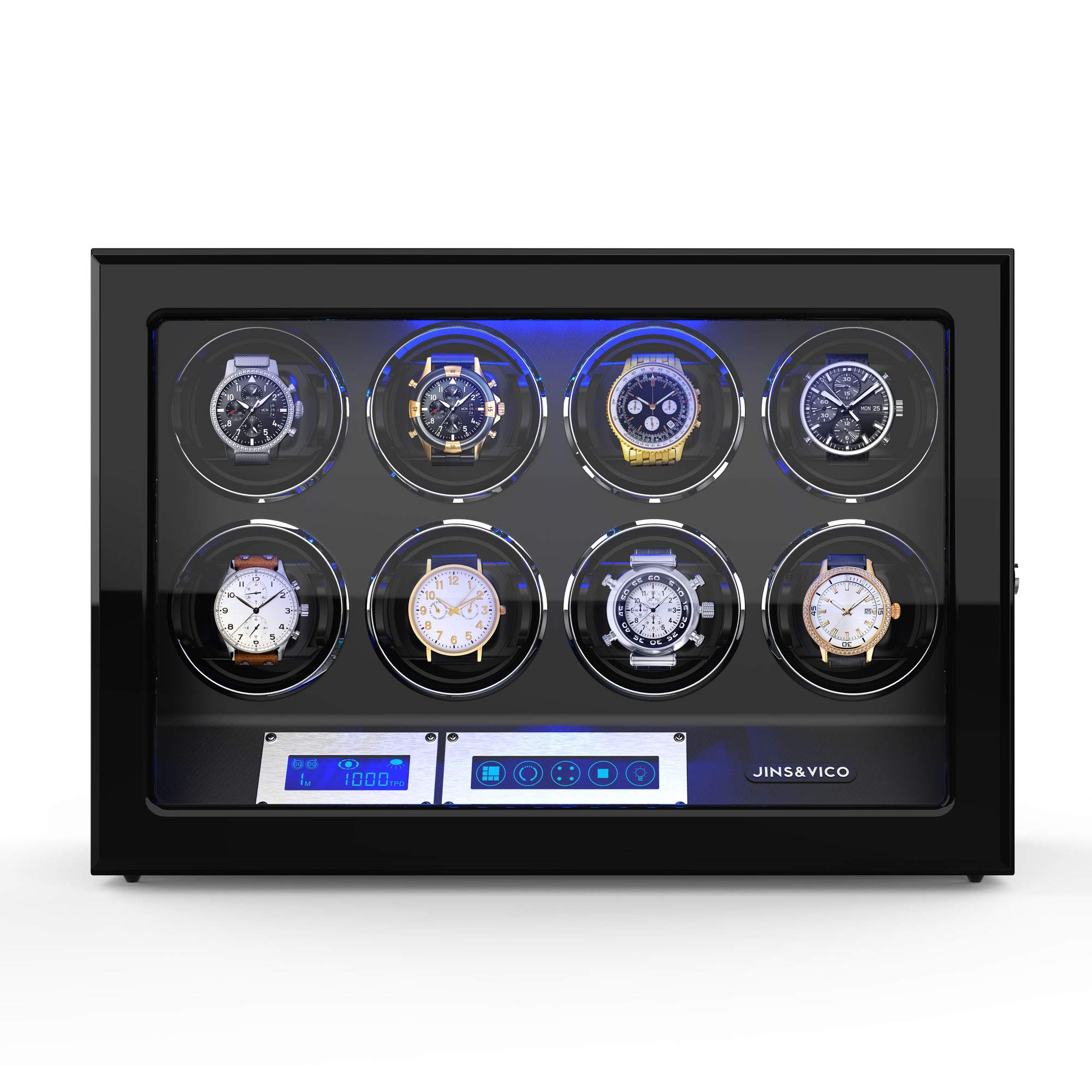 Watch Winder, [Newly Upgraded] Wooden Finish with Adjustable Watch Pillows, 8 Winding Spaces Watch Winders for Automatic Watches, Built-in Illumination by JINS&VICO