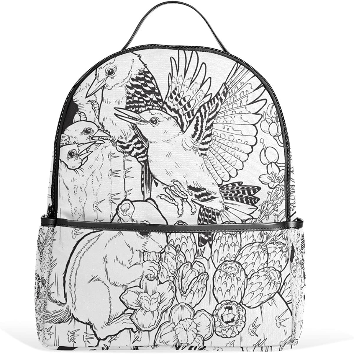Mr.Weng Birds And Squirrels Printed Canvas Backpack For Girl and Children