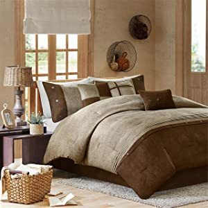 Madison Park Boone Cal King Size Bed Comforter Set Bed in A Bag - Brown, Textured Print – 7 Pieces Bedding Sets – Micro Suede Bedroom Comforters