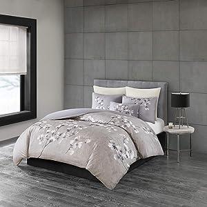N Natori Sakura Cotton Comforter Reversible Solid Cherry-Blossom Flower Floral Print Embroidered Pillow Soft Down Alternative Hypoallergenic All Season Bedding-Set, King, Lilac