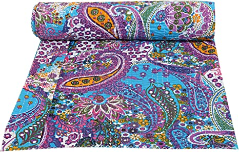 100/% Cotton Red Paisley Kantha Bed Cover Twin Quilt Hippie Indian Handmade Kantha Quilt Throw Twin Size Bedding Kantha Bedspread Quilt