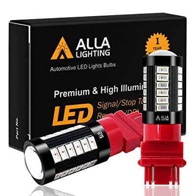 Alla Lighting 2800lm 3156 3157 LED Bulbs Xtreme Super Bright 5730 33-SMD T25 3057 4057 4157 3457K Brake Stop Lights, Signal Blinker Taillights, Pure Red: Automotive