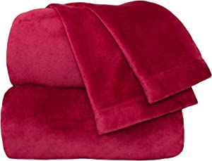 Cozy Fleece Comfort Collection Velvet Plush Sheet Set, King, Scarlet, 1 Sheet Set