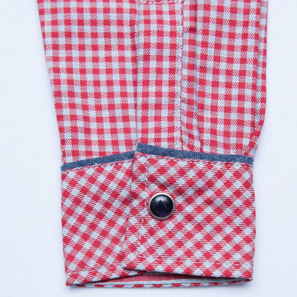 Axel and Hudson Boy ShirtL//S RED Check//Stripe Shirt Fore