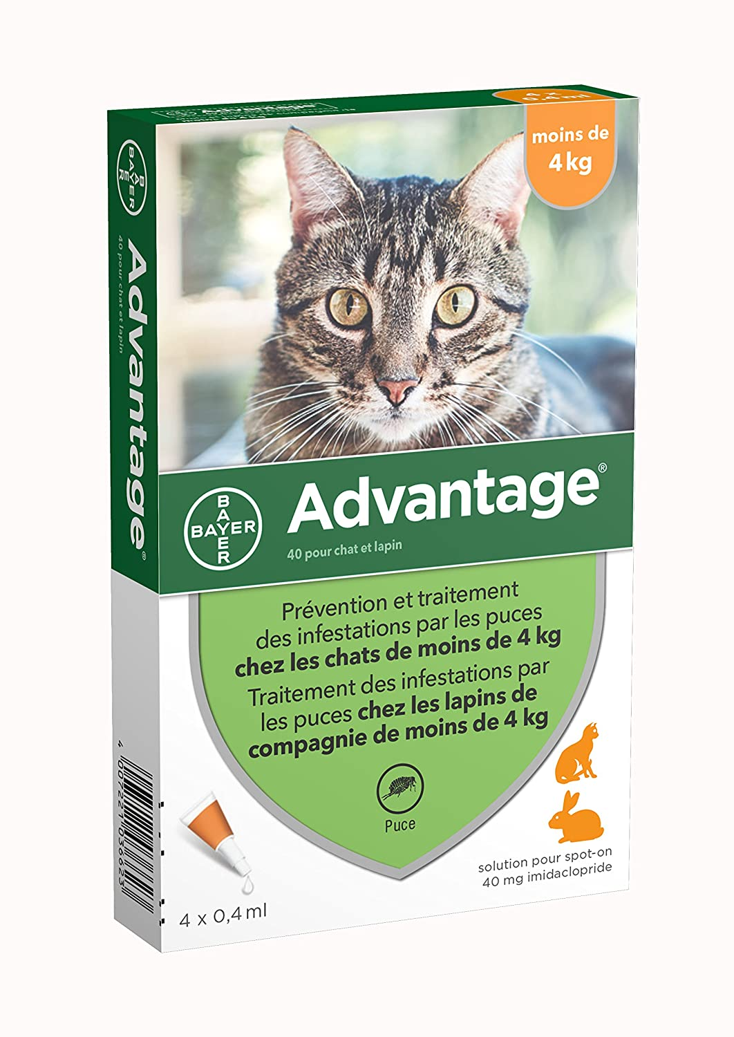 ADVANTAGE 40 - ANTIPARASITARIO GATOS MENORES DE 4 KG - 4 PIPETAS: Amazon.es: Productos para mascotas