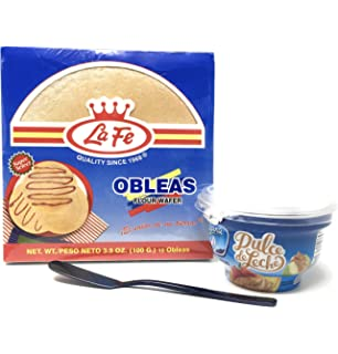 La Fe Obleas -12 Flour Wafer Bundle with Alpina Dulce de Leche - Arequipe -