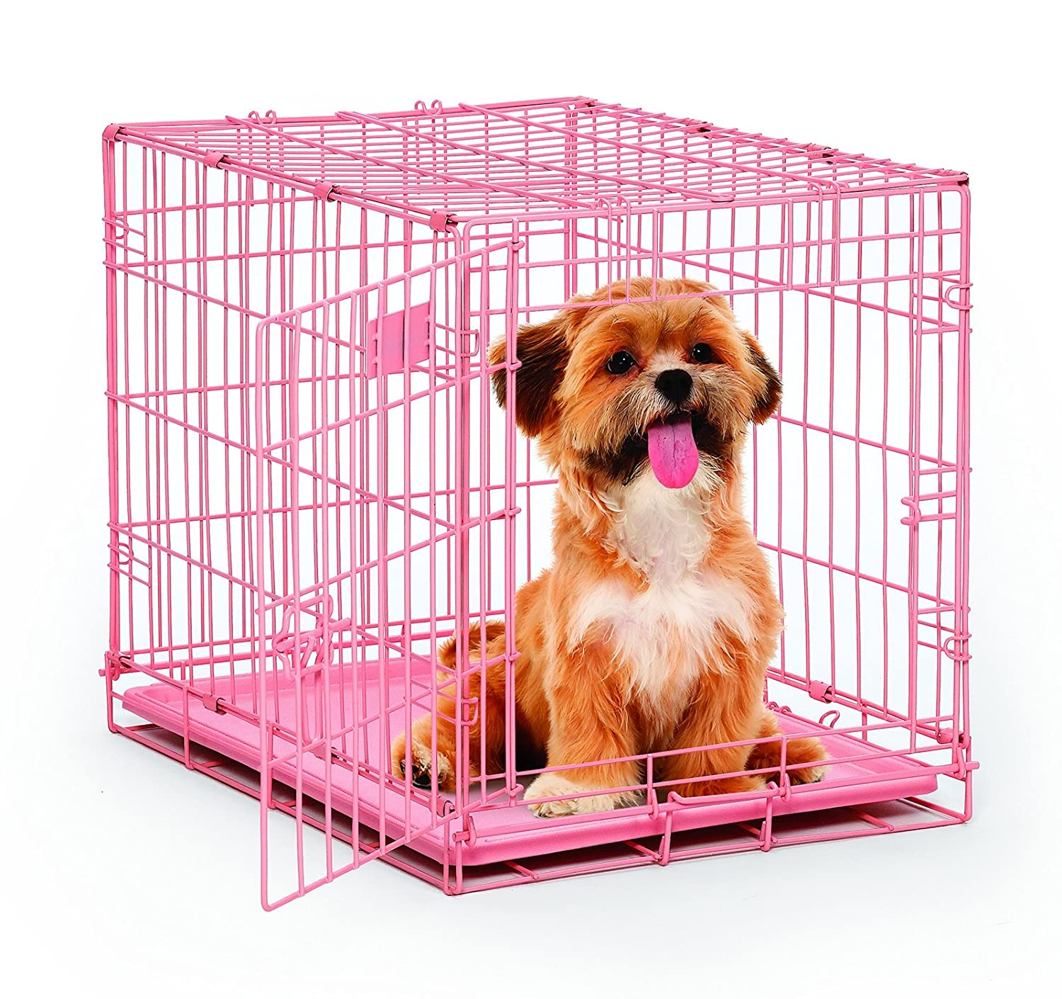 amazoncom  midwest  pink icrate folding metal dog crate w  - amazoncom  midwest  pink icrate folding metal dog crate w dividerpanel floor protecting roller feet  leak proof plastic tray l x wx h