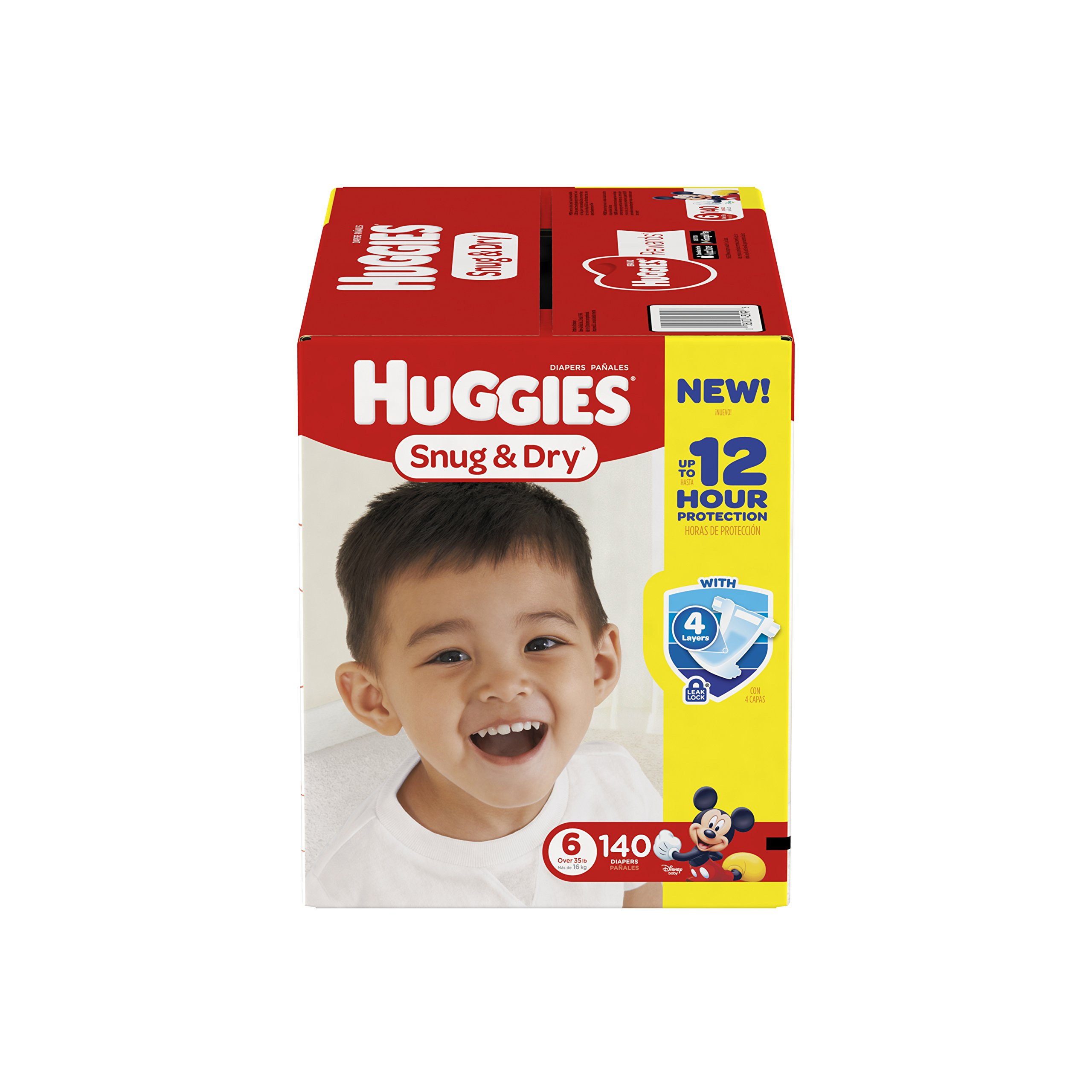 HUGGIES Snug & Dry Diapers, Size 6, for Over 35 lbs., One Month Supply (140 Count) of Baby Diapers, Packaging May Vary