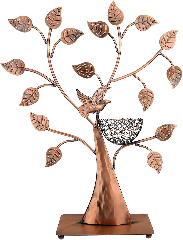 Amazon Com Mygift Jewelry Tree Bronze Bird Nest 48 Pair Earrings Holder Bracelets Necklace Organizer Stand Home Kitchen