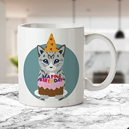 Cat Birthday Cake Mug Lovers Gifts Mugs Cute