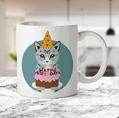Amazon.com: Taza para tartas de cumpleaños para gatos ...