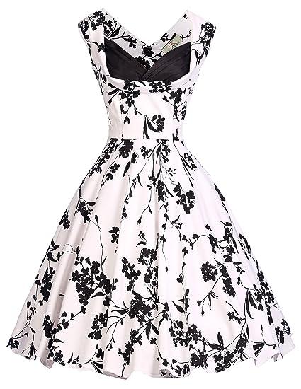 2a8261719b6 Femme Robe Rétro Chic Style sans Manche Vintage Années 1950s Audrey Hepburn  Robe de Soirée