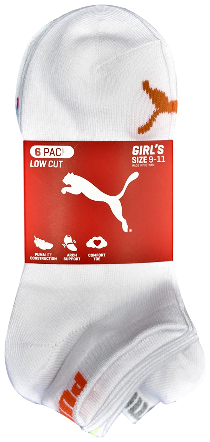 Size 9-11 White//Neon Little Girls Low Cut Socks Pack of 6 Pairs Puma