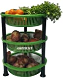 AWFER365 Rack Premium Plastic 3 Steps Kitchen Rack Basket for Office Use, Fruits Onion, Potato, Vegetables and Sabji Basket Tray for Household (Round Rack, Color May Vary)