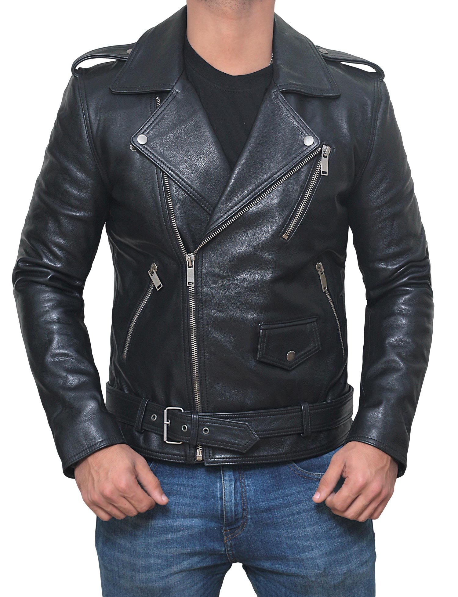 Mens Belted Rider Mens Jacket - Black Leather Motorcycle Jacket | Real Belted Rider, L
