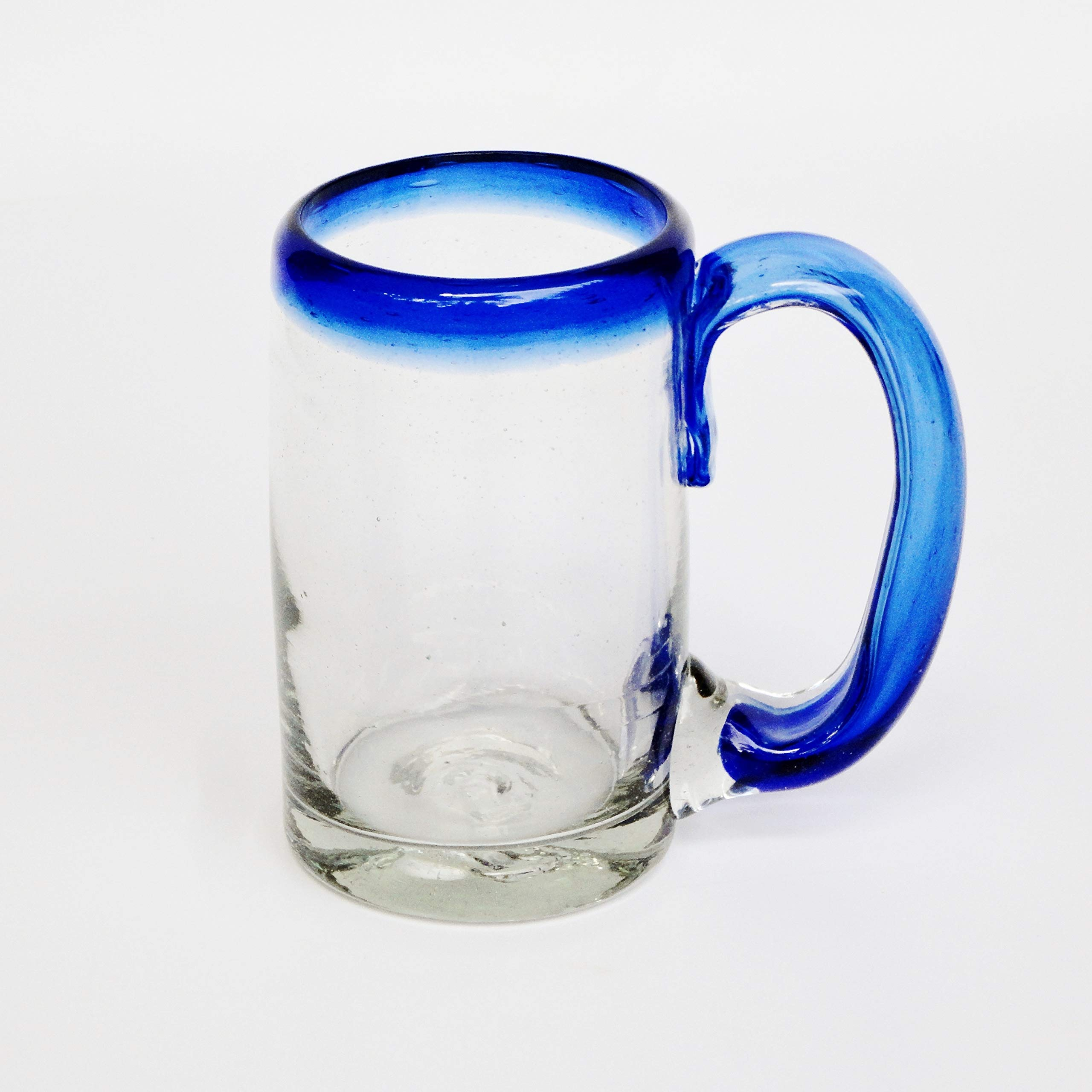 Mexican Blown Glass Beer Mugs Cobalt Blue Rim (Set of 6)