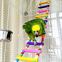 CoCogo Funny Swing Bird Toy Flexible Ladder, Colorful Wooden Rainbow Bridge Parrot's cage Shelf 31.5 Inch L and 4 Inch W