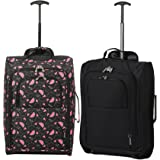 Set of 2 Super Lightweight Cabin Approved Luggage Travel Wheely Suitcase Wheeled Bags Bag Black/Red + Black/Blue (Black Watermelon + Black)