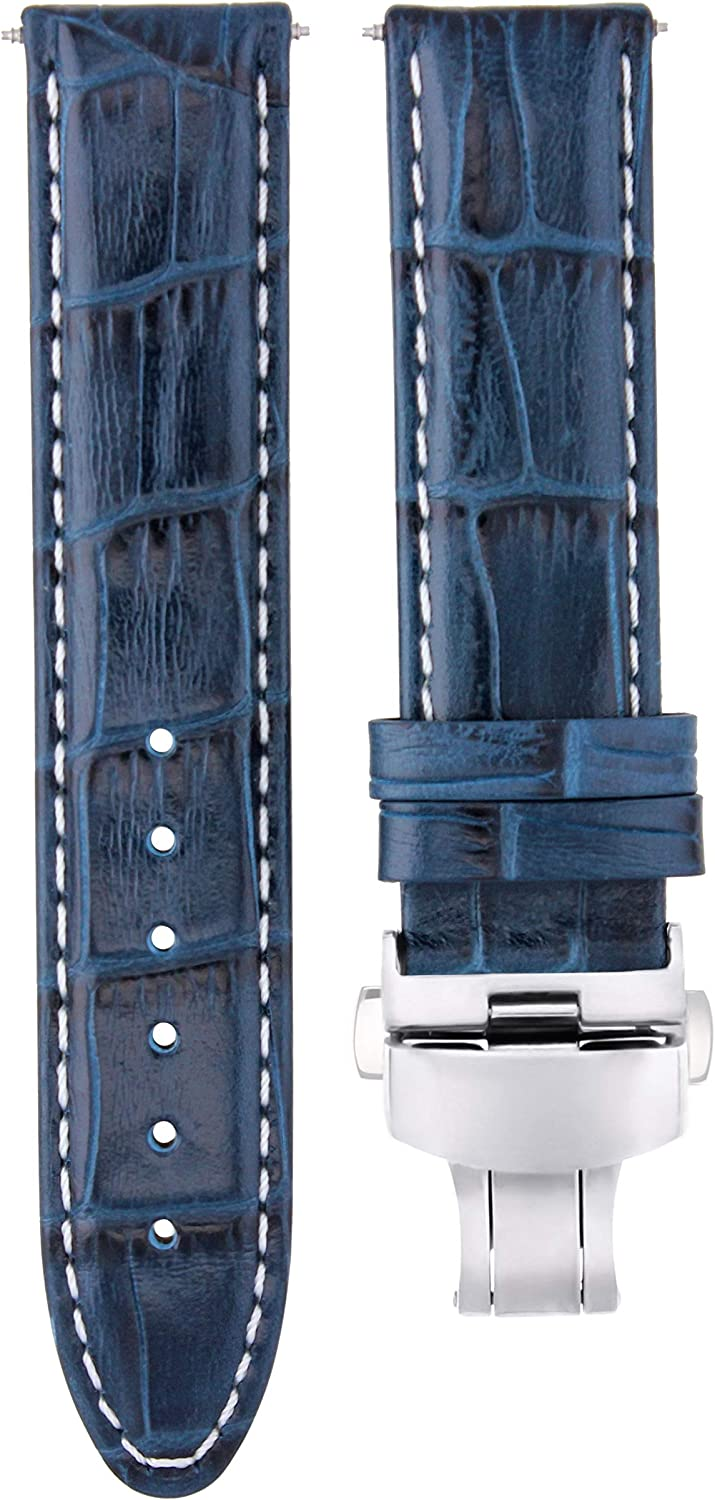 19mm Leather Watch Strap Band Deployment Clasp Compatible with Tissot Prc200 T461 Blue Ws