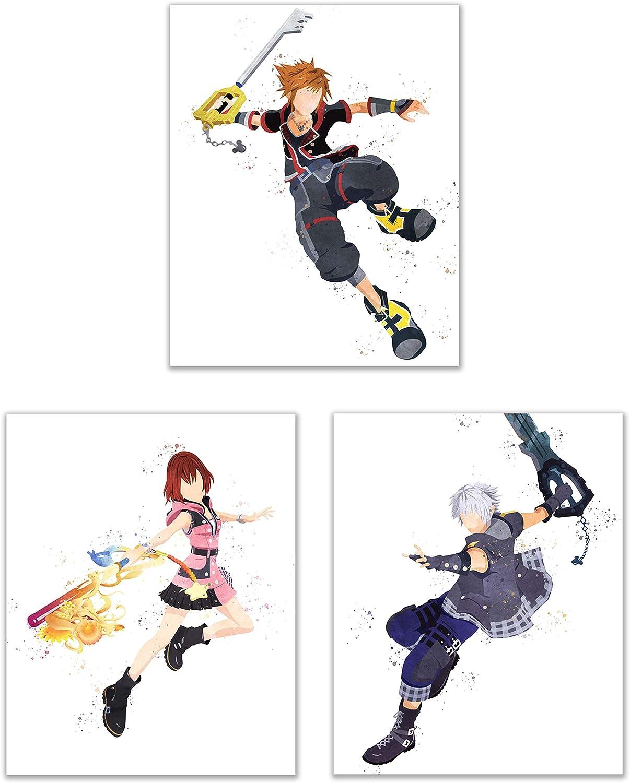 Watercolor Kingdom Hearts 3 Poster Prints - Set of 3 (8x10) Glossy KH3 Keyblade Wall Art Decor - Sora - Riku - Kairi