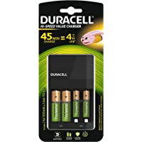 Duracell CEF14 Chargeur Piles Rechargeables AA & AAA, 45 minutes, Piles incluses