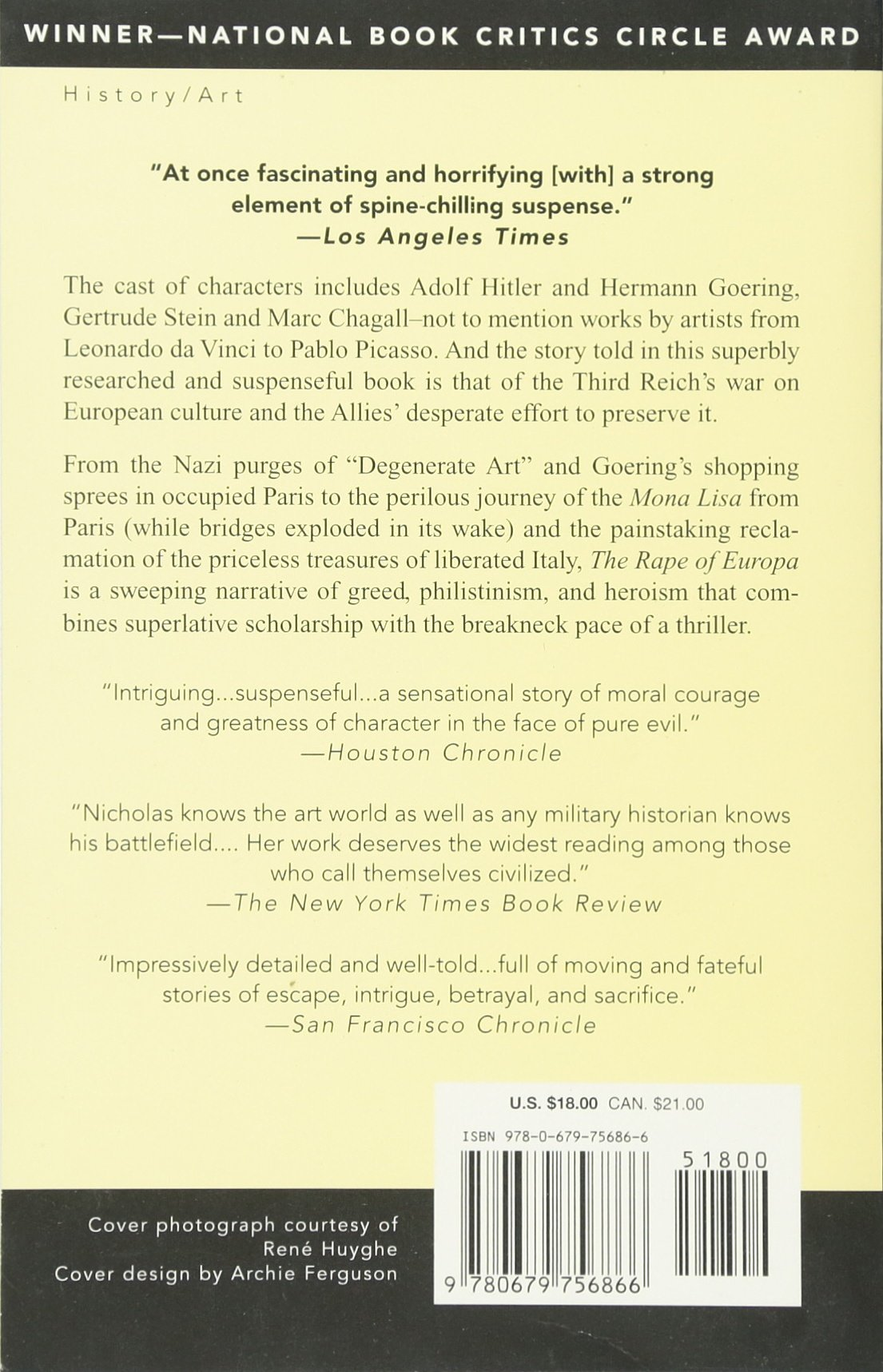 The Rape Of Europa: The Fate Of Europe's Treasures In The Third Reich And  The Second World War: Lynn H Nicholas: 9780679756866: Amazon: Books