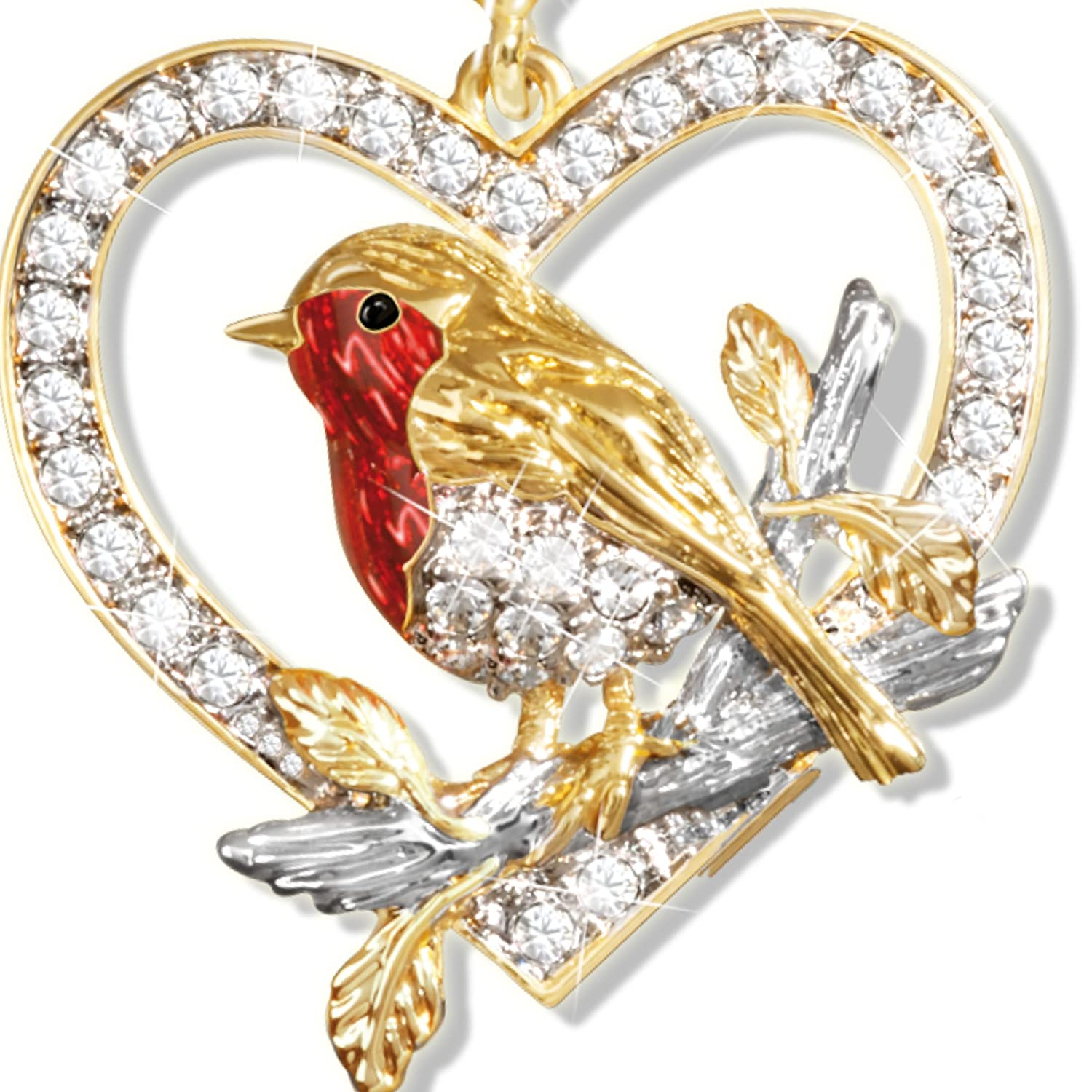 and Showcasing Lustrous Enamel and A Genuine Diamond Exclusively Available from The Bradford Exchange Jewel of Nature Crystal Robin Pendant Plated in Rich 24-Carat Gold