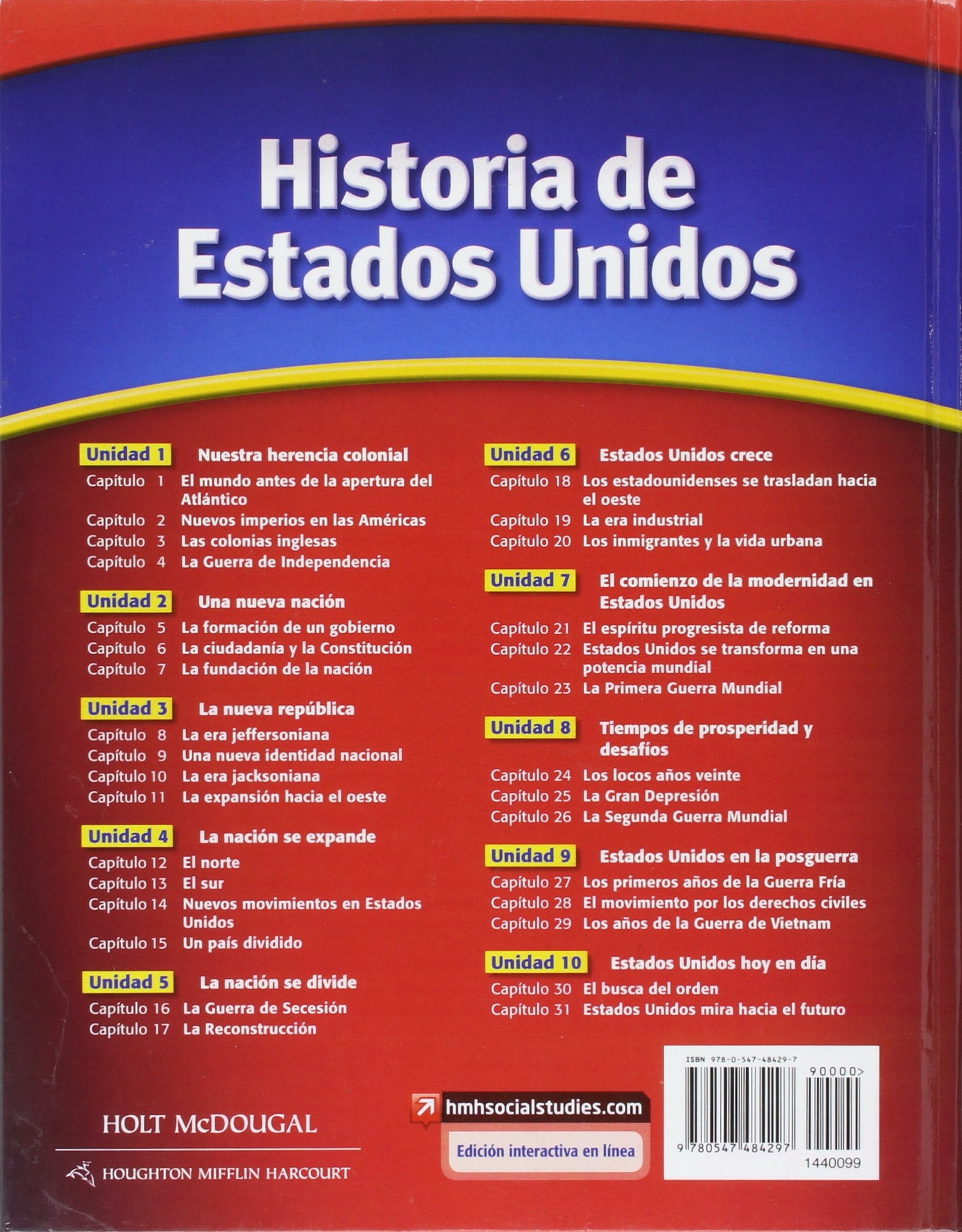 Amazon.com: United States History: Student Edition, Spanish 2012 (9780547484297): HOLT MCDOUGAL: Books