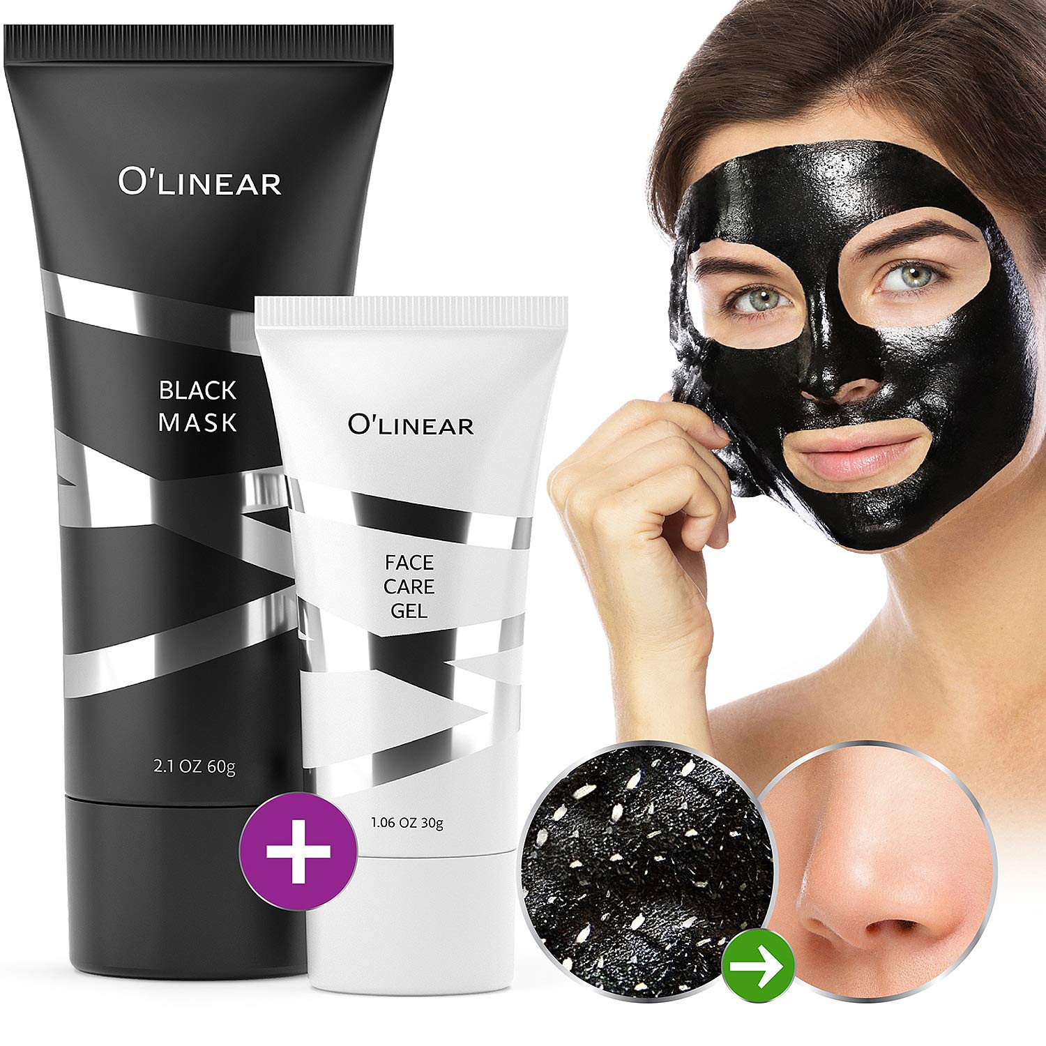 Black Charcoal Mask Blackhead Remover - Face Peel Off Mask With Natural Activated Organic Bamboo Charcoal - Deep Cleansing Pore Blackhead Removal - Purifying Face Mask & Face Care Gel for Women & Men by O'linear