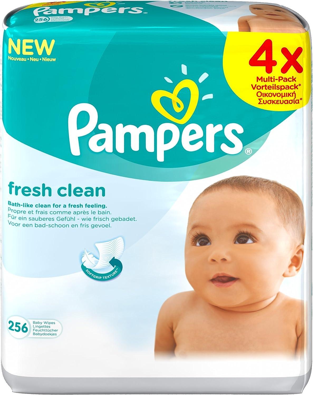 Pampers Lingettes b/éb/é Fresh Clean Les 4 paquets de 64 lingettes