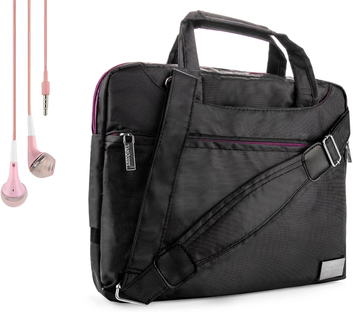 Nine O Premium Nylon Carrying Shoulder Bag Case for Acer Iconia Tab 10 A3 A20, Iconia Tab 8 A1 840 and Handsfree Earphones