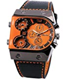 Carrie Hughes Oulm Man's Fashion Watch with 3 Quartz Movement Dial Leather Band orange CH164