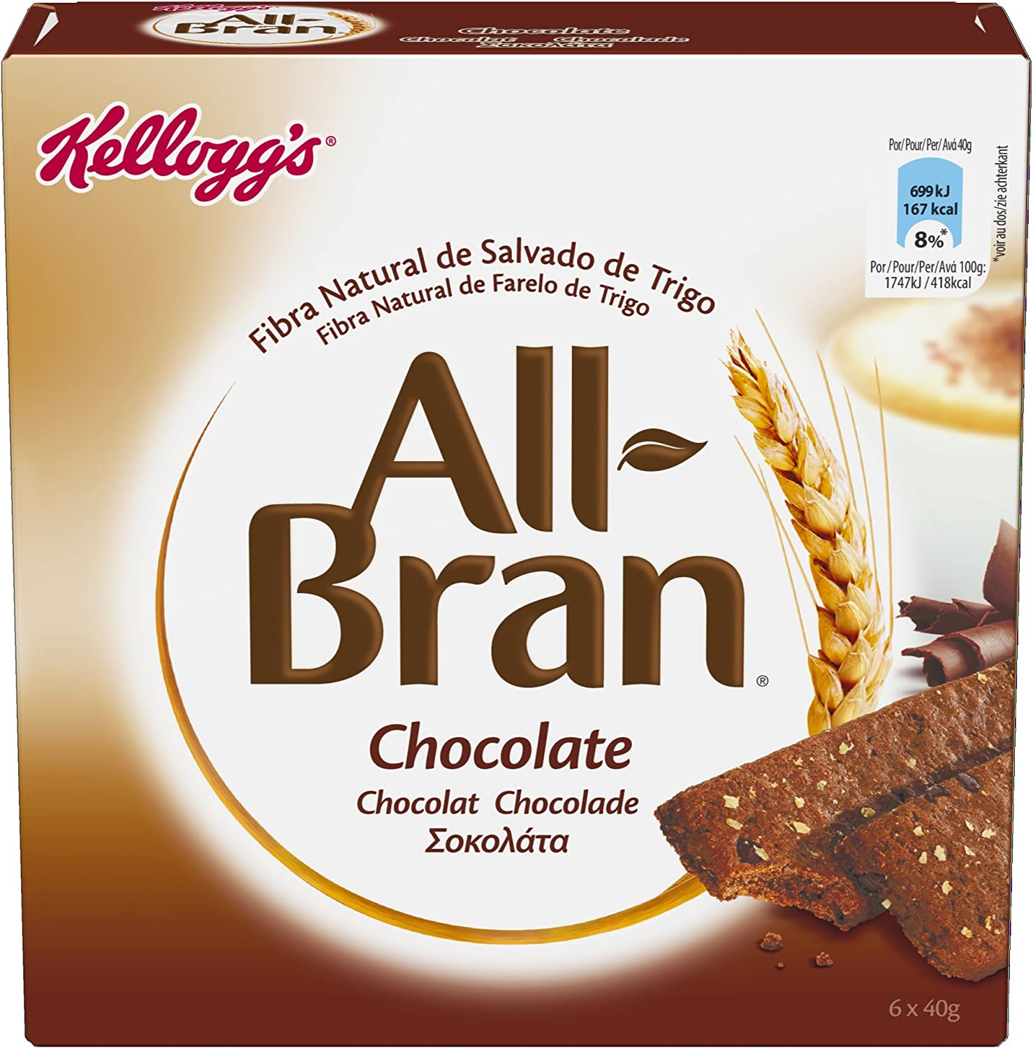 Kelloggs All-Bran Chocolate Barritas - Paquetes de 6 x 40 g - 240 ...