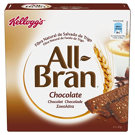 Kelloggs All-Bran Chocolate Barritas - Paquetes de 6 x 40 g - 240 g