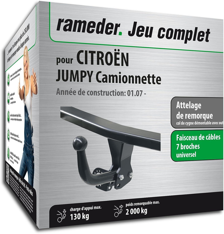 Attelage Col de cygne démontable avec outil pour CITROËN JUMPY Camionnette + faisceau 7 broches (128937-05641-1-FR) chic