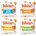 Whisps Parmesan - Cheddar - Tangy Ranch - Nacho All Natural Cheese Crisps - 4 Flavor Variety Pack - Great Tasting Healthy Sna