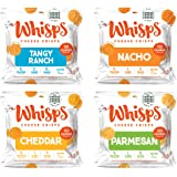 Whisps Tangy Ranch, Nacho, Cheddar, & Parmesan Cheese Crisps Variety Pack | Back to School Snack, Gluten Free, Keto Snack, Su
