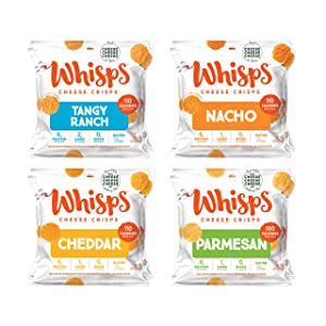 Whisps Parmesan - Cheddar - Tangy Ranch - Nacho All Natural Cheese Crisps - 4 Flavor Variety Pack - Great Tasting Healthy Snack - Keto Friendly - High Protein - Low Carb - Gluten & Sugar Free - 12 Pack (0.63oz Bags)