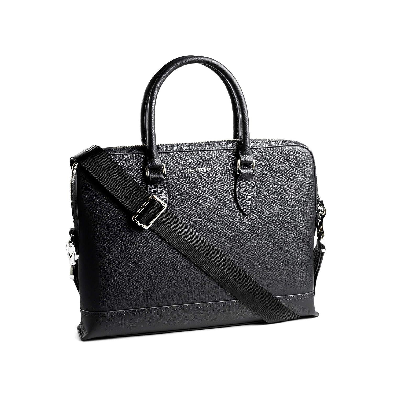 1f7e878085bd Amazon.com  Maverick   Co. Full-Grain Saffiano Leather Briefcase ...