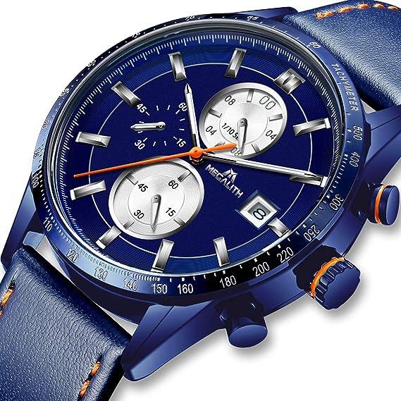 Relojes Hombre Reloj de Pulsera Militar Cronógrafo Impermeable Deportes Diseñador Azul Reloj Hombre de Cuero Luminosos