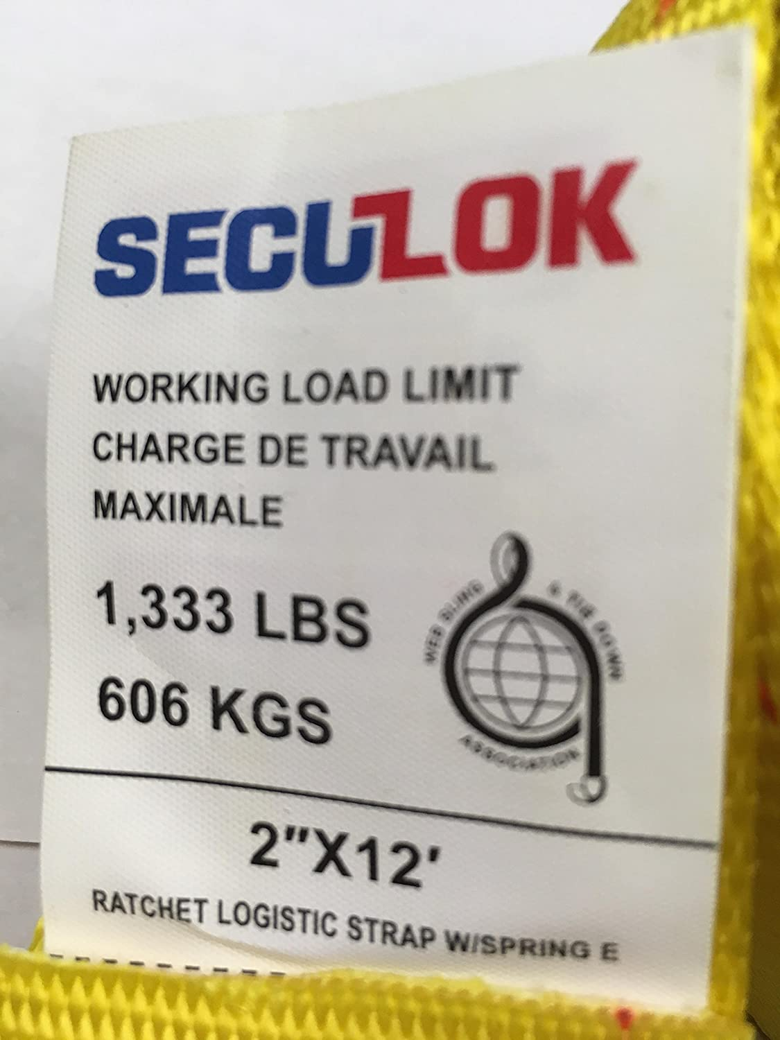 Seculok 2 x 12 Logistic Ratchet Etrack Strap with E//A Series Spring Fitting