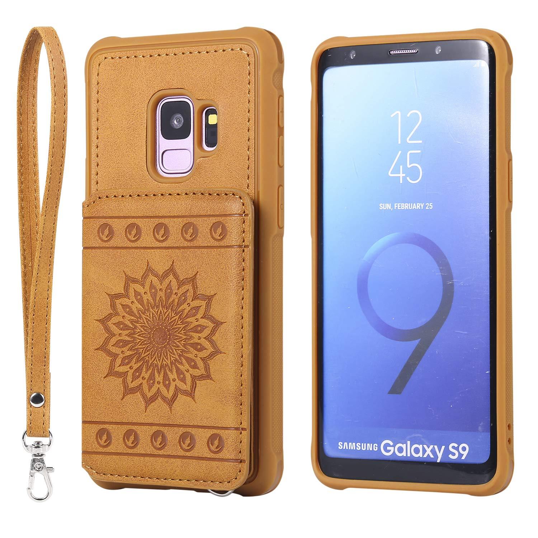 Galaxy S9 Case,DAMONDY Luxury Flower Sunflower Wallet Purse Card Holders Design Cover Soft Shockproof Bumper Flip Leather Kickstand Clasp Wrist Strap Case for Samsung Galaxy S9 2018-Brown