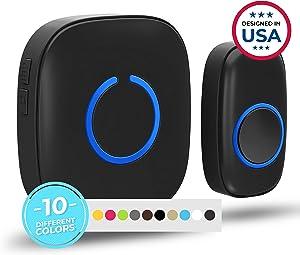 Wireless Doorbell by SadoTech – Waterproof Door Bells & Chimes Wireless Kit – Over 1000-Foot Range, 52 Door Bell Chime, 4 Volume Levels with LED Flash – Wireless Doorbells for Home – Model C (MBlack)