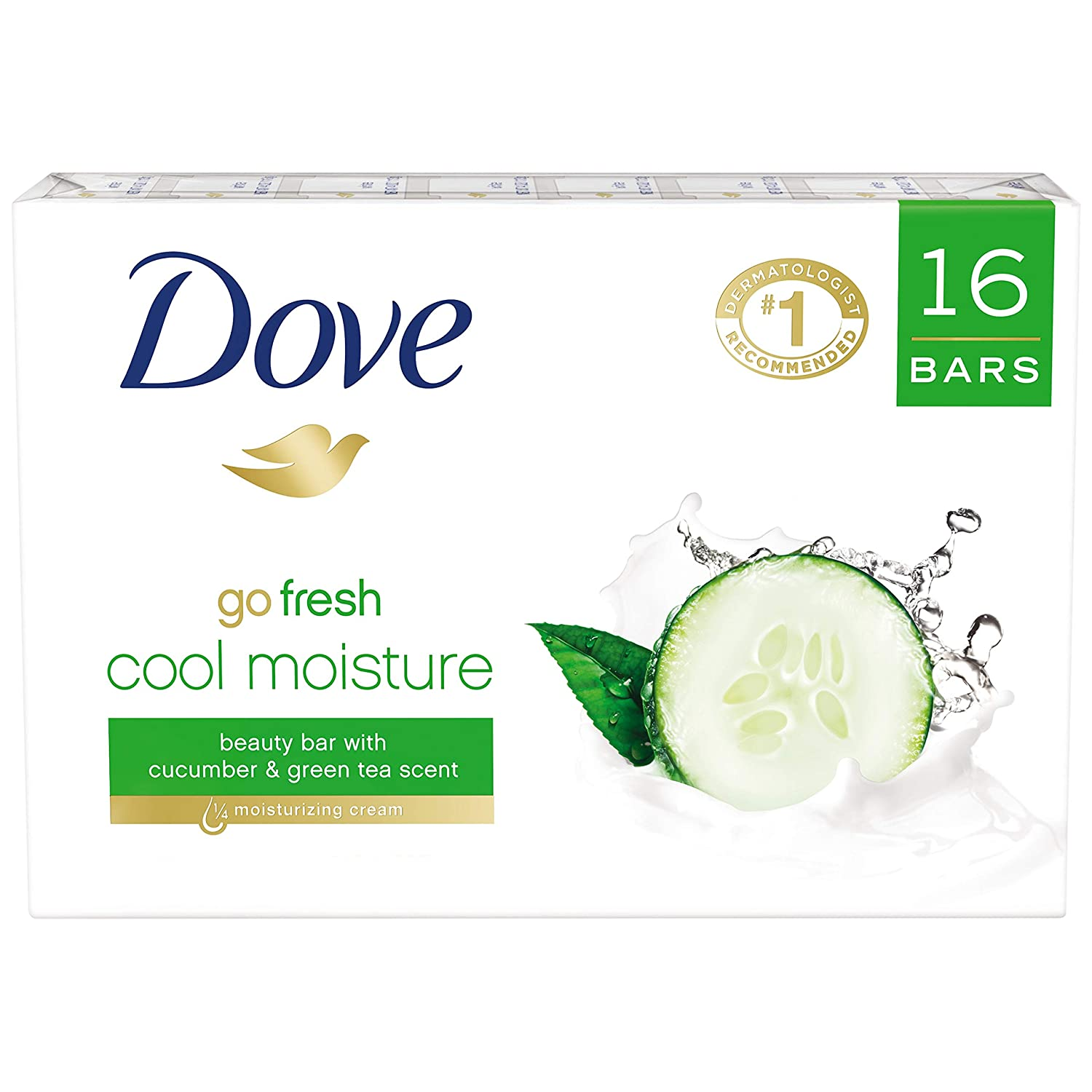 Dove  More Moisturizing than Bar Soap, Cucumber and Green Tea Beauty Bar, 4 Ounce, 16 Count (Pack of 1)