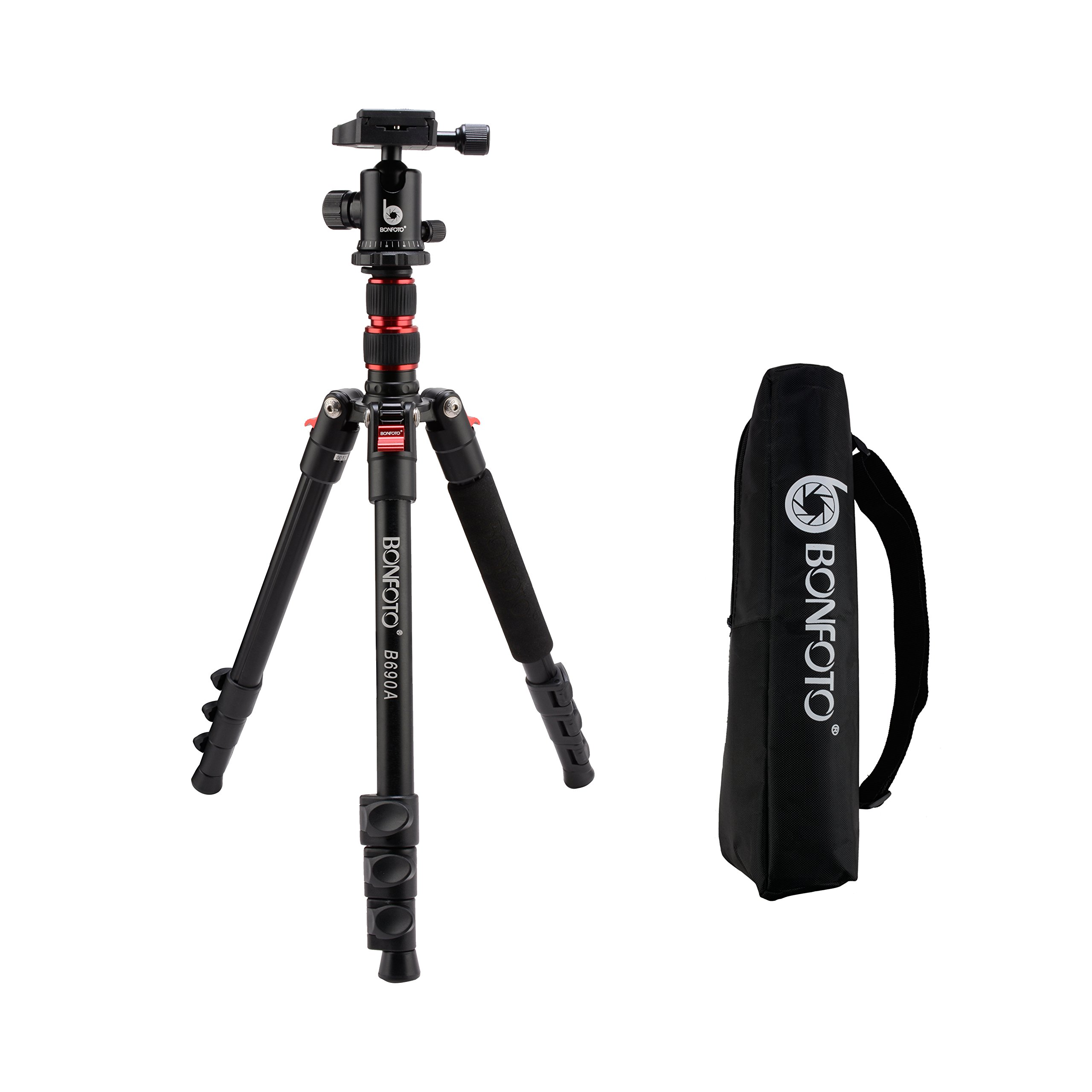 BONFOTO B690A Lightweight Aluminum Alloy Camera Travel Portable Tripod with 360 Degree Ball Head,1/4'' Quick Release Plate and Carry Bag for Canon Nikon Sony DSLR