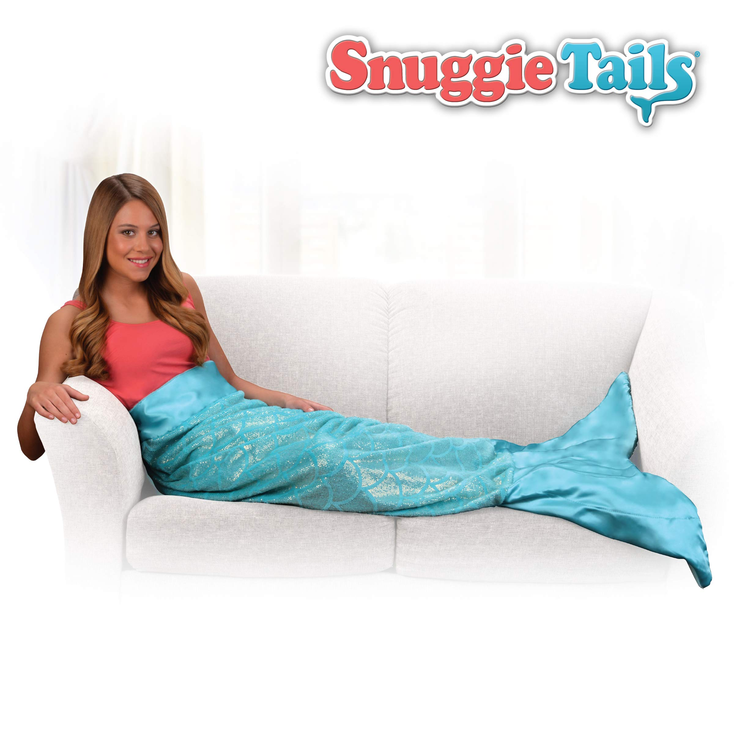 Snuggie Tails Mermaid Blanket- Comfy, Cozy, Super Soft, Warm, All Season, Wearable Blanket for Teens & Adults, As Seen on TV (Aqua Glitter) by Snuggie Tails