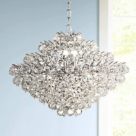 Modern Ceiling Pendant Light 4 Modern Chrome pendants with Heavy cubed crystals