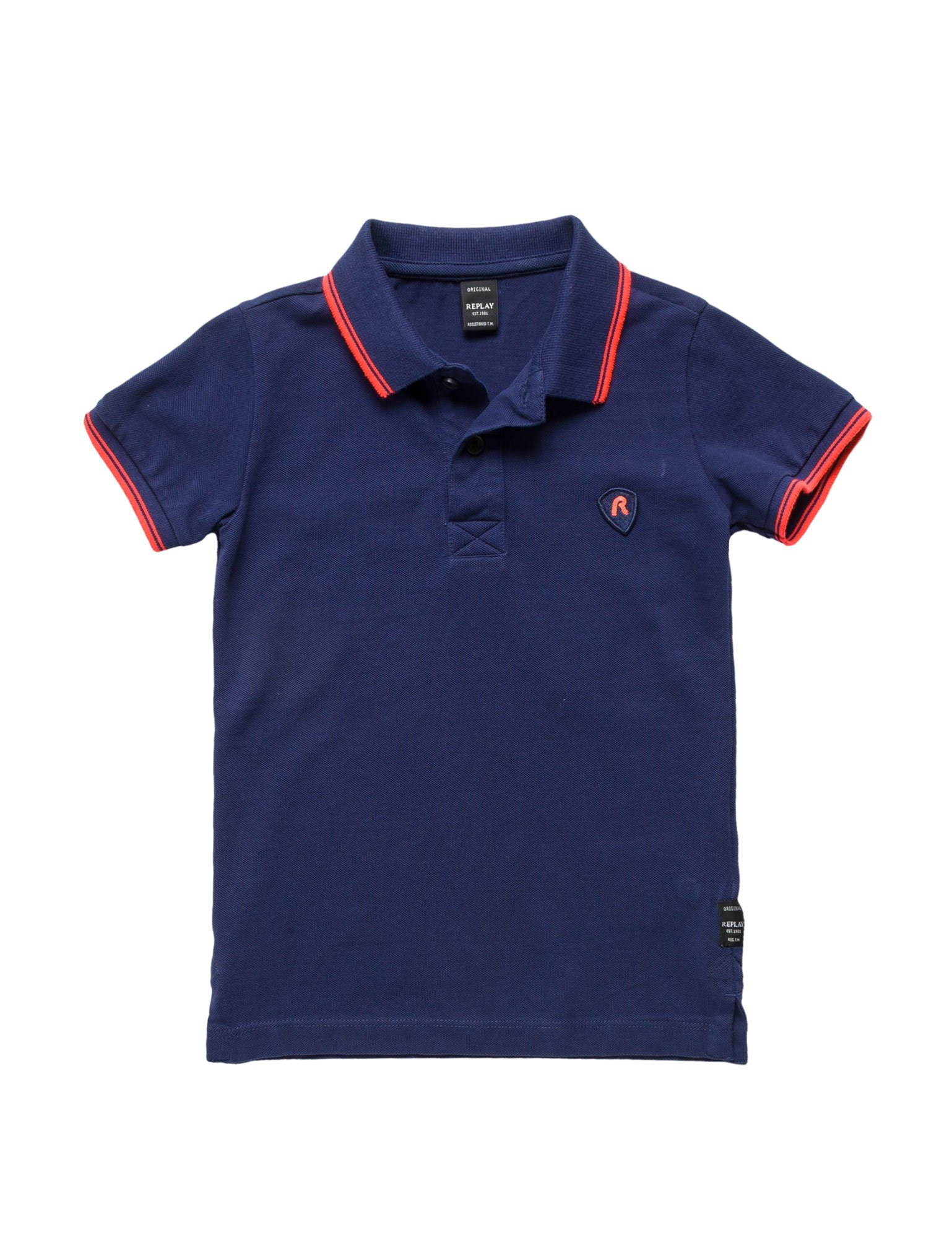 Replay Cotton Pique Boy's Polo in Blue in Size 10 Years Blue